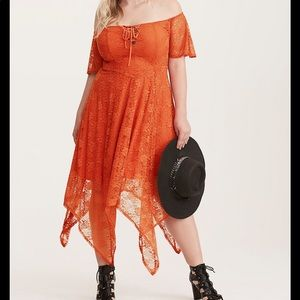 Torrid - Orange handkerchief hemmed dress